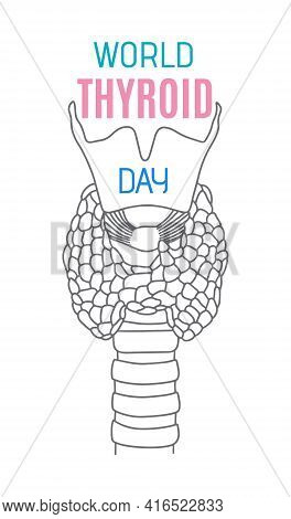 World Thyroid Day In May 25. Human Thyroid Structure. Icon In The Linear Style.