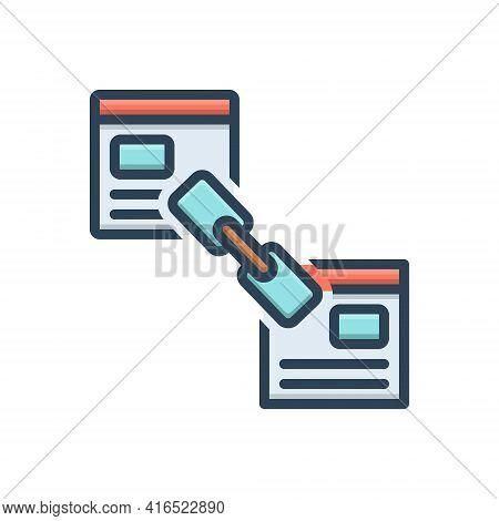 Color Illustration Icon For Back-link-optimization Back Blogging Connect Link Linkage Optimization