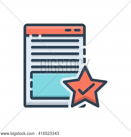 Color Illustration Icon For Page-quality Attribute Document Merit Merits Page Quality