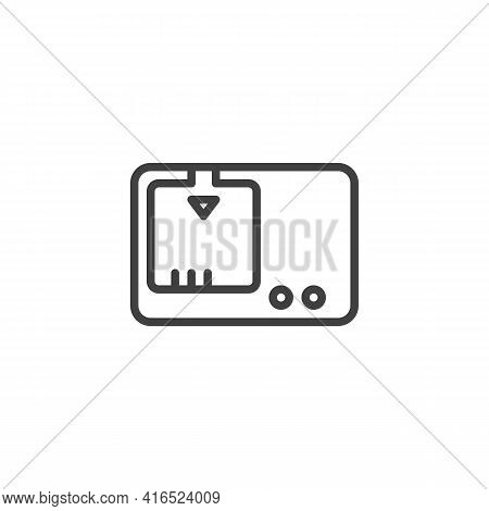 Camera Battery Charger Line Icon. Linear Style Sign For Mobile Concept And Web Design. Battery Charg