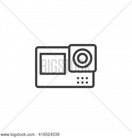 Action Camera Line Icon. Linear Style Sign For Mobile Concept And Web Design. Action Video Camera Ou