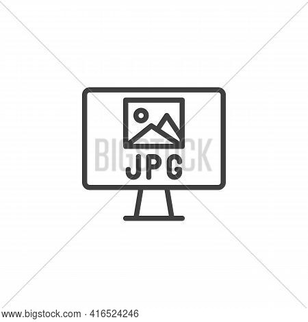 Jpg File Format Line Icon. Linear Style Sign For Mobile Concept And Web Design. Computer Monitor Wit