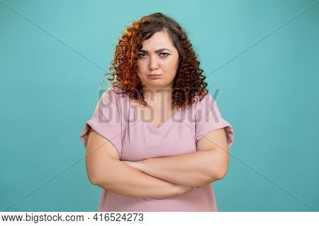 Sad Woman. Body Shaming. Diet Problem. Overweight Struggle. Conceptual Portrait. Offended Plus Size
