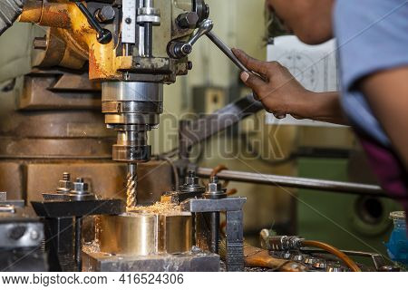 The Operation Of Nc Milling Machine By Technician Operator. The Shop Floor Operation By Nc Milling M