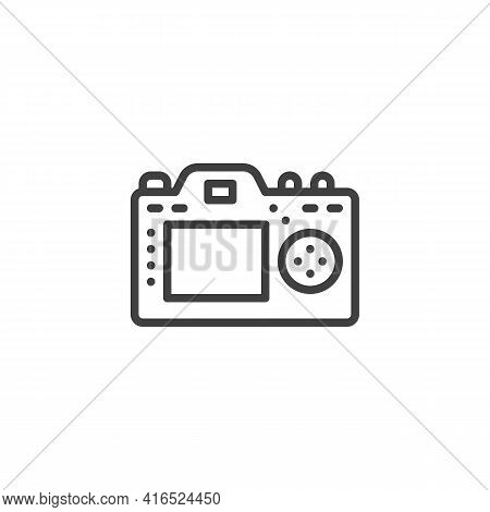 Camera Display Line Icon. Linear Style Sign For Mobile Concept And Web Design. Photo Camera Back Sid