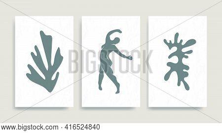 Contemporary Henri Matisse Abstract Vector Poster. Woman Nude Figure Dancing Silhouette Line Art Mat
