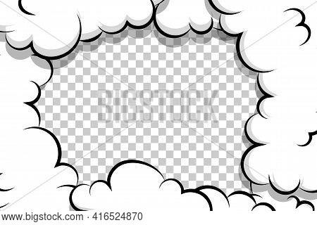 Comic Book Cartoon Speech Bubble For Text. Cartoon Puff Cloud Template On Transparent Background For