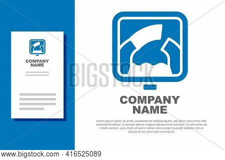 Blue Drawbridge Ahead Icon Isolated On White Background. Information Road Sign. Logo Design Template