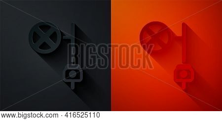 Paper Cut Stop Sign With Camera Icon Isolated On Black And Red Background. Traffic Regulatory Warnin