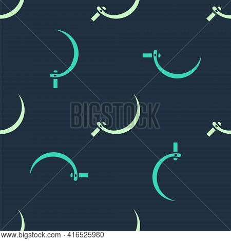 Green And Beige Sickle Icon Isolated Seamless Pattern On Blue Background. Reaping Hook Sign. Vector