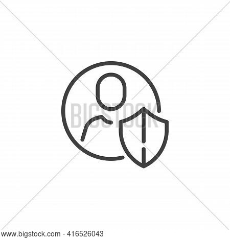 Personal Profile Protection Line Icon. Linear Style Sign For Mobile Concept And Web Design. User Pro