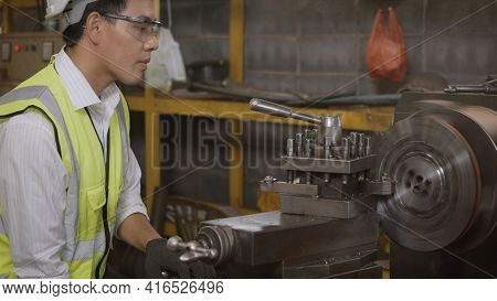 Asian Professional Mechanical Engineer Or Operation Man Wear Uniform Goggles Safety Working On Works