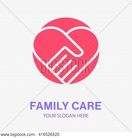 Family Care Icon. Help, Charity, Hope Logo Template. Vector Illustration.