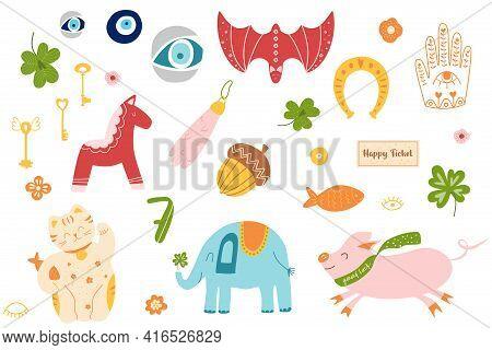 Good Fortune Symbol Set. China Cat Maneki, Horseshoe, Clover Amulets, Talismans. Lucky Symbols Clipa