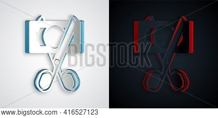 Paper Cut Scissors Cutting Money Icon Isolated On Grey And Black Background. Price, Cost Reduction O