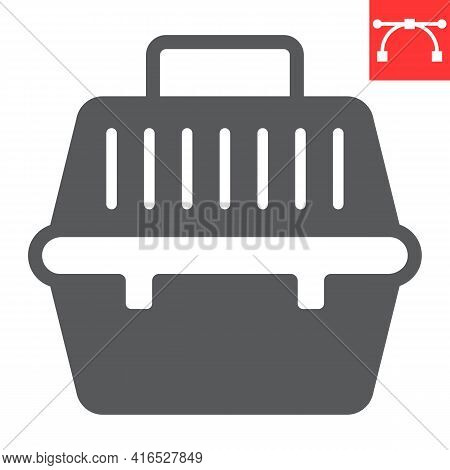 Pet Carrier Glyph Icon, Pet Shop And Animal Transport Bag, Pet Carry Case Vector Icon, Vector Graphi