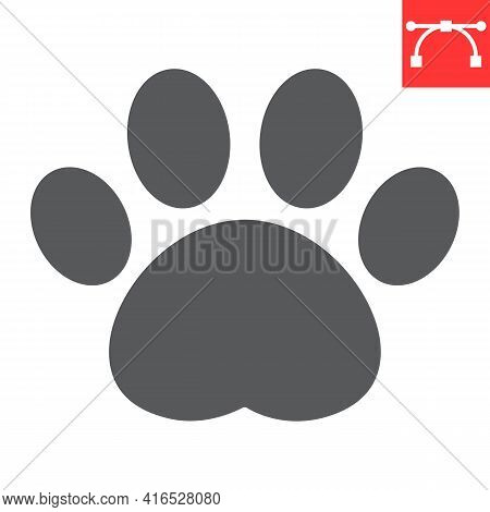 Paw Print Glyph Icon, Pet And Foot, Dog Paw Footprint Vector Icon, Vector Graphics, Editable Stroke