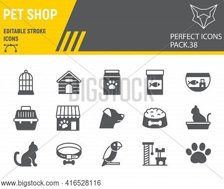 Pet Shop Glyph Icon Set, Pet Store Collection, Vector Graphics, Logo Illustrations, Pet Shop Vector