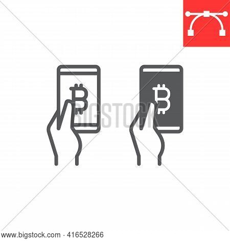Bitcoin Mobile Pay Line And Glyph Icon, Payment And Pay With Bitcoin, Hand Holding Smartphone Icon,