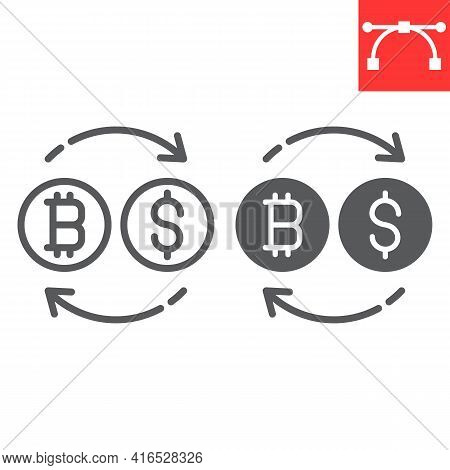 Bitcoin To Dollar Exchange Line And Glyph Icon, Btc And Usd, Currency Exchange Vector Icon, Vector G