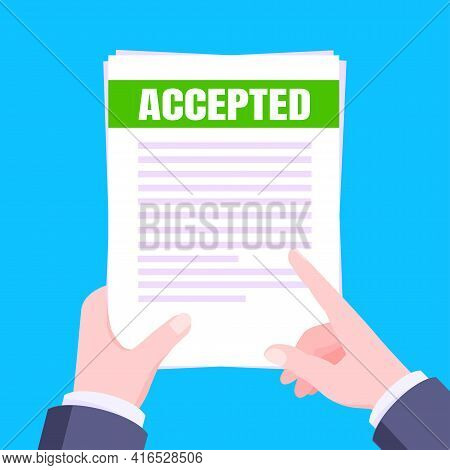 College Or University Acceptance Mail With Envelope And Paper Sheets Document Email. Job Employment