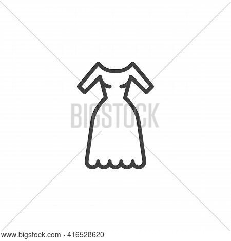 Wedding Dress Line Icon. Linear Style Sign For Mobile Concept And Web Design. Gown Dress Outline Vec