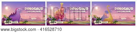 Dinosaur Virtual Park Banners. Vr Technologies, Augmented Reality With Ancient Reptiles. Vector Set