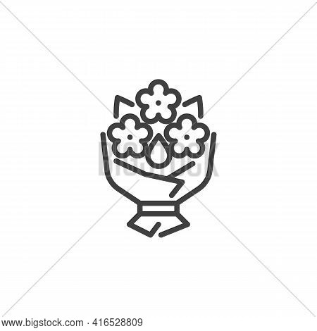 Wedding Flowers Bouquet Line Icon. Linear Style Sign For Mobile Concept And Web Design. Bridal Bouqu
