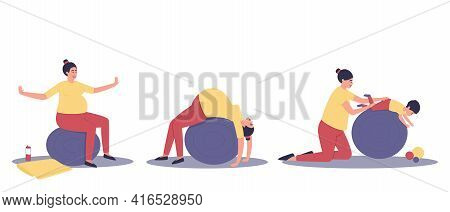 A Set Of Activities On A Large Ball For A Pregnant Woman And A Baby. Relaxation Of The Pregnant Woma