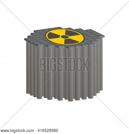 Nuclear Reactor With Graphite Rods.vector Isometric And 3d View.