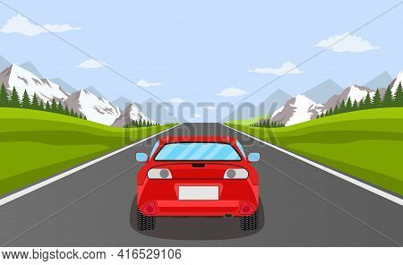 Highway Drive With Beautiful Landscape. Travel Road Car View. Road With Car. Highway With Panoramic