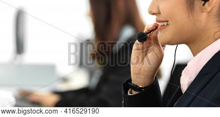 Group Of Happy Asian Smiling Call Center Business Operator Customer Help Support Team Phone Services