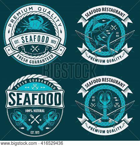 Set Of Seafood Label, Badge, Emblem Or Logo For Seafood Restaurant, Menu Design Element. Vector Illu