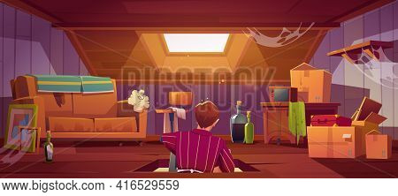 Man Climb On Attic By Ladder Through Roof Hatch, Character In Room With Old Things And Furniture. Di
