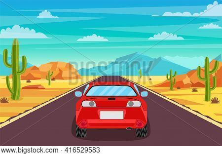 Highway Road In Desert. Sandy Desert Landscape With Road, Rocks, Car And Cactuses. Summer Western Am