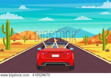 Highway Road In Desert. Sandy Desert Landscape With Road, Rocks, Car And Cactuses. Happy Free Couple