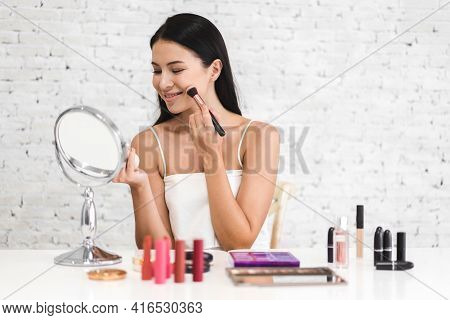Smiling Of Young Beautiful Pretty Woman Clean Fresh Healthy White Skin Look At Mirror.girl Holding M