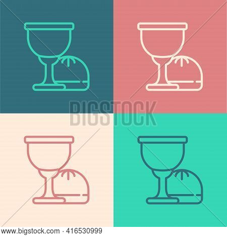 Pop Art Line Holy Grail Or Chalice Icon Isolated On Color Background. Christian Chalice. Christianit