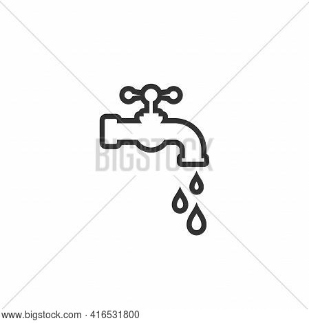 Water Tap With Classic Old Valve And Liquid Drops. Black Line Icon Isolated On White. Turn On And Tu