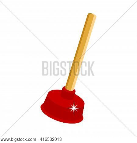 Plunger For Cleaning Clogged Sewer Pipes.3d Vector Illustration And Isometric View.