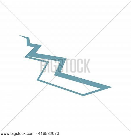 Crack In The Ground. Ground Fracture After Seismic Activity..vector Illustration.