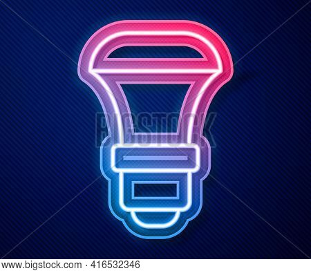 Glowing Neon Line Led Light Bulb Icon Isolated On Blue Background. Economical Led Illuminated Lightb