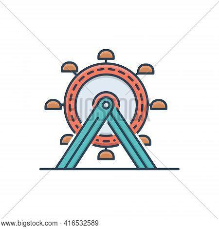 Color Illustration Icon For Ferris-wheel  Ferris Wheel Amusement-park