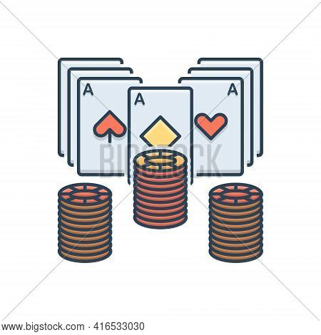 Color Illustration Icon For Poker  Poker-chip Card Gamble Gambling