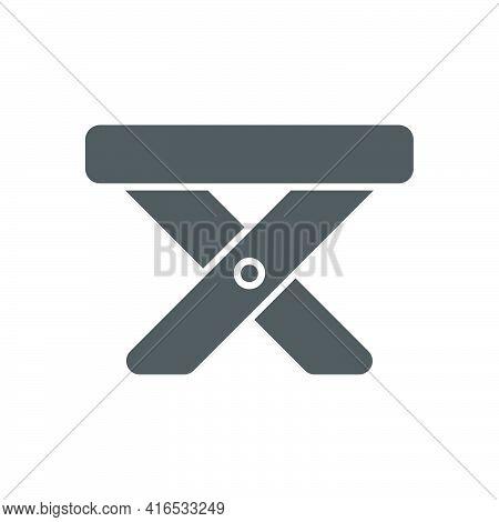 Folding Stool Icon In Flat Style.vector Illustration.