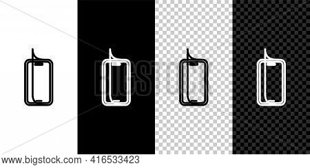 Set Line Glass Screen Protector For Smartphone Icon Isolated On Black And White, Transparent Backgro