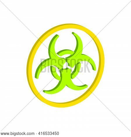 Biological Hazard Symbol.3d Vector Illustration And Isometric View.