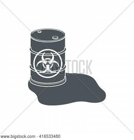 Damaged Metal Barrel With Biological Waste Icon.vector Illustration.