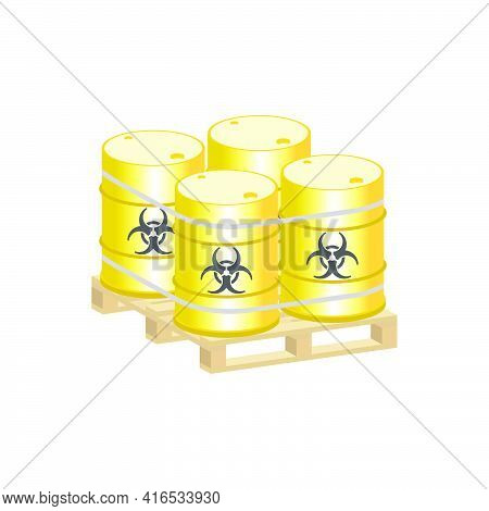 Metal Barrels With Biological Waste On A Pallet.vector Isometric And 3d View.