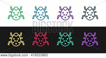 Set Line System Bug Concept Icon Isolated On Black And White Background. Code Bug Concept. Bug In Th
